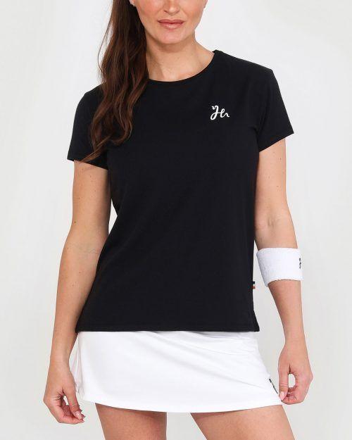 Luna Tee - Dam-tshirt för padel. Mjuk och stretchig i Svart. Style Fram.