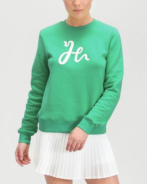 Off Court Sweatshirt för padelspelare. Exklusiva broderier. Spring Green.